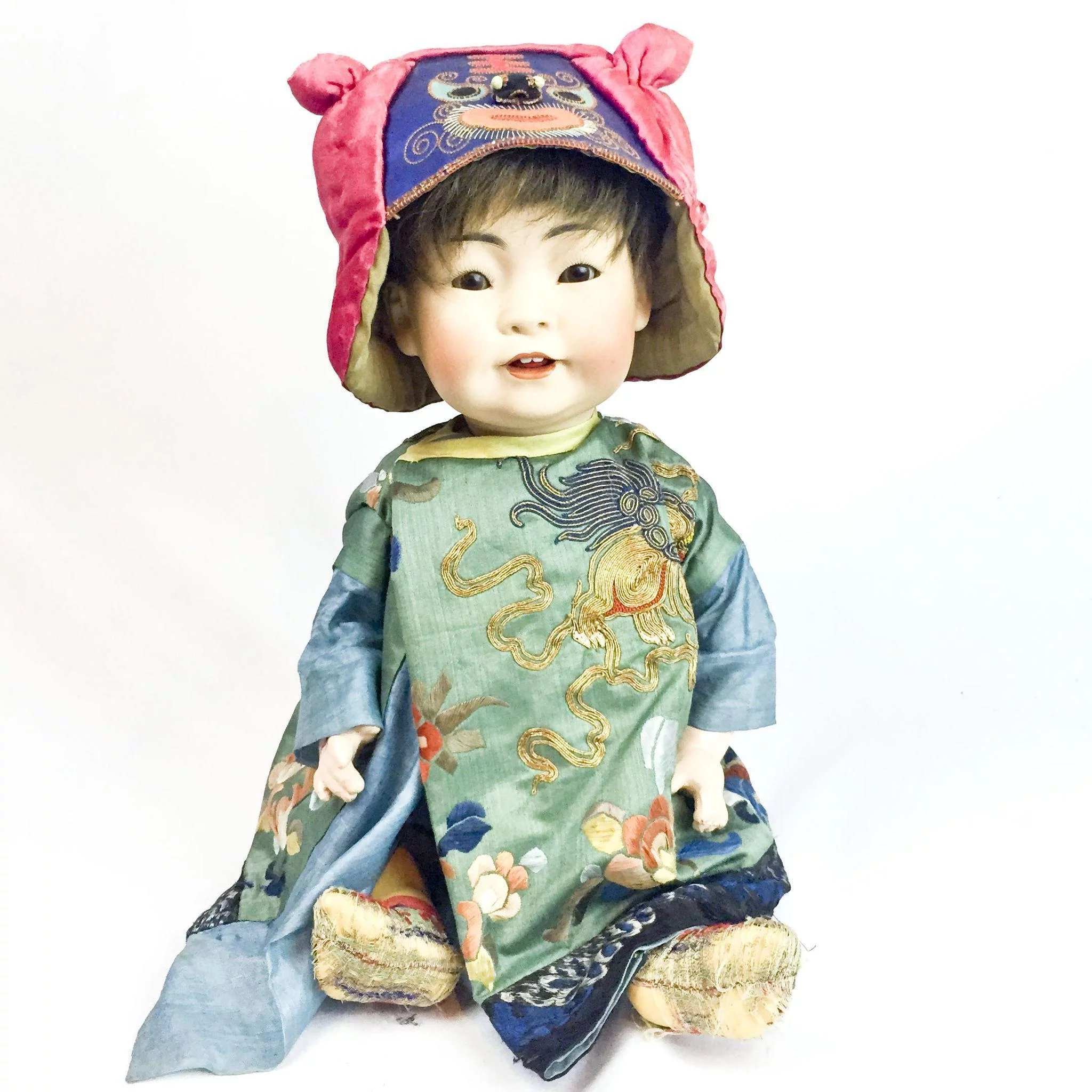 RARE 1910s German Bisque Oriental Chubby Faced Baby Doll Kestner 243