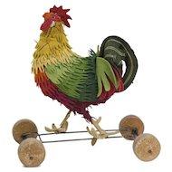 """1910s Antique Steiff Felt Rooster on Wheels 8"""""""