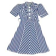 1940s Advertising Table Top Mannequin Salesmen's Sample Chevron Striped Dress