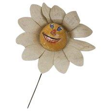 1910s German Halloween Paper and Papier Maché Pumpkin Face Flower Stick Pin