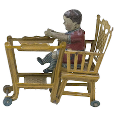 RARE 1910s Antique German Lithographed Tin Baby in a High Chair Penny Toy 2 1/2""