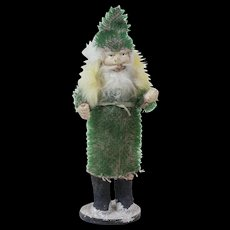1900s Antique German Santa Claus Candy Container with Rare Green Mohair Suit 6""