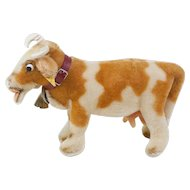 "1950s German Steiff ""Bessy"" Cow with Glass Googly Eyes and All ID"