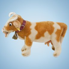 """1950s German Steiff """"Bessy"""" Cow with Glass Googly Eyes and All ID"""