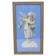 "1910s Antique Victorian Christmas Angel Framed Paper Die Cut 15"""