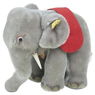 1970s Steiff Baby Circus Elephant with Glass Googly Eyes 14""