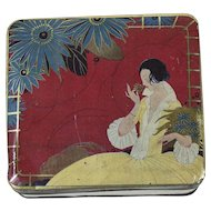1920s Art Deco Tin Box with Beautiful Lady Lithograph