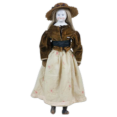 """Antique Large Size Beidermeier China Doll with Cloth and Leather Body 26"""""""