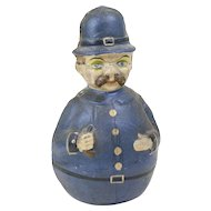 1900s Antique German Police Man Papier Maché Roly Poly 10""