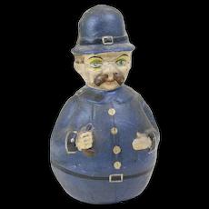 """1900s Antique German Police Man Papier Maché Roly Poly 10"""""""
