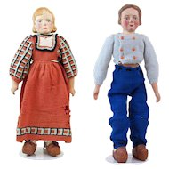 1930s Pair of American Folk Art Carved Wooden Dolls from Syracuse Psychiatric Hospital