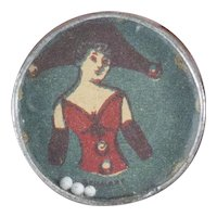 """1900s Antique German Tiny Dexterity Game with Beautiful Lady Image 1"""""""