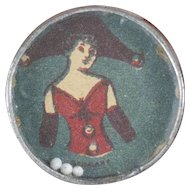 1900s Antique German Tiny Dexterity Game with Beautiful Lady Image 1""