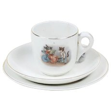 1910s Antique Children't China Tea Cup, Saucer & Dessert Plate with Little Kittens