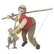 """1940s Spanish Roldan Felt Fisherman Doll 8 1/2"""""""