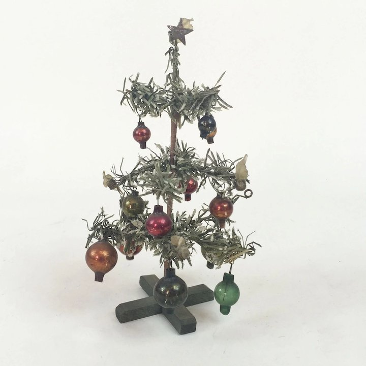 1930s german small christmas tree with glass ornaments 6 34 - Small Christmas Ornaments
