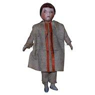"1900's German Bisque 3-1/4"" Miniature Doll with White Linen Dress & Orange Detail"
