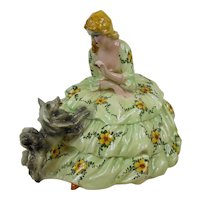 Large Ceramic Pottery Figure Woman in Green Floral Dress with Dog ZANOLLI SEBELIN ZARPELLON Italy