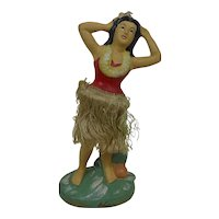 "Large 1950's Paper Mache ""ALOHA HAWAII"" Dancing Hula Girl Wiggler with Chenille Grass Skirt 9.75"""