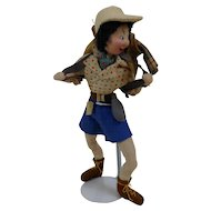 1960s Klumpe Doll Hiker Camper with Paper Labels Spain