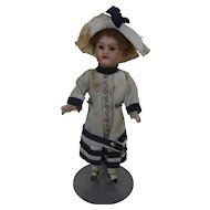 19Teens German Doll with Open Mouth in White & Navy Blue Linen Dress & Hat 13-0