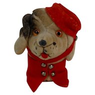 Velveteen Dog Bellhop Sewing Pin Cushion with Glass Eyes 3""
