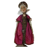 Large 1920's Australian Art Doll Queen Puppet with Jeweled Crown Gown & Robe