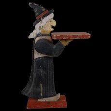 "1930's Halloween Folk Art Witch Double Sided Wooden Figure Pedestal 24"""