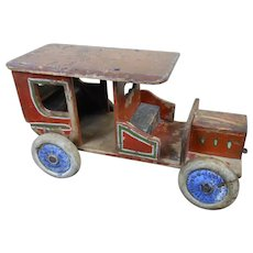 """Large 1920s Folk Art Wooden Automobile Car with Papered Bench Seats 13"""""""