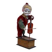Late 1800's Rare German Victorian Mechanical Violin Clown Toy