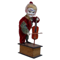 Late 1800's Rare German Victorian Mechanical Violin Clown Toy