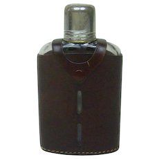 Vintage 1950's Whiskey Flask with Leather Casing 6.25""