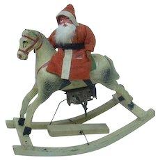 Turn of the Century German Santa Riding Mechanical Rocking Horse