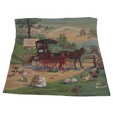 """Turn of the Century """"All the World Loves a Lover"""" Lithograph on Pillow Sham"""