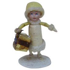 1920's Miniature Heubach Christmas Child with Gift