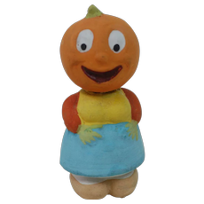 Pre 1920s Pumpkin Headed Veggie Girl Candy Container.