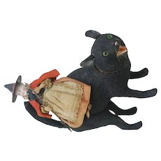 Rare Halloween Witch on  A Paper Mache Black Cat Candy Container 1910