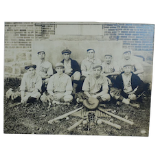 1920s Baseball Sporting Photograph with Equipment ,  Bats , Catchers Mask , Gloves