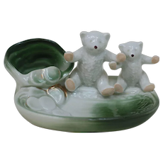 Pink Paw Porcelain Teddy Bears Coins falling from Bag Trinket or Jewelry Tray Made in Germany