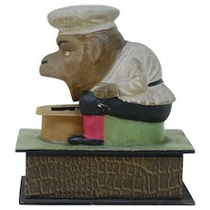 Rare paper Mache and Wood EATER Monkey Chef , mechanical
