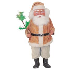15 inch Wood Cutter Santa Claus Candy Container Velvet clothing