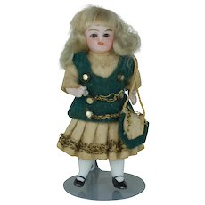 4 inch original dress German All Bisque doll glass eyes 4th of 4