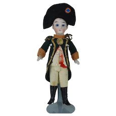 5.5 inch French All Bisque Doll Originally Dressed as Napoleon Fully Jointed