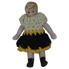 1.5 inch Carl Horn Doll with Molded Hair and Crocheted Outfit