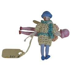 2.25 inch All Bisque Flapper Carl Horn Doll with molded Flapper Hat