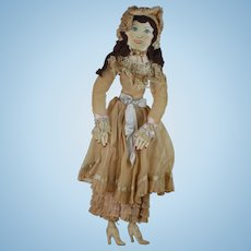 28 inch 1930s cloth Body Painted face Bed Doll Rag Doll  Lovely
