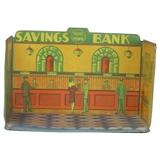 Louis Marx 1930s Tin Home Town Toy Room Savings Bank.
