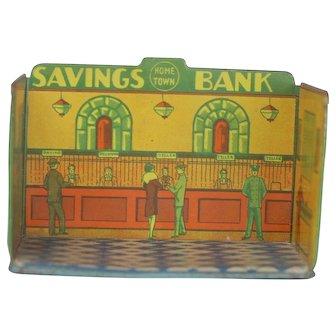 Louis Marx 1930s Tin Home Town Toy Room Savings Bank.