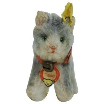 Smallest Size 1950s Steiff Tabby Cat All ID