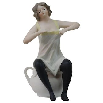 Rare Form All bisque Victorian parlor Naughty Girl figurine  Potty